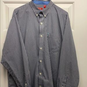 Navy blue and white checkered men's dress shirt